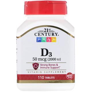 21st Century, Vitamin D3, 50 mcg (2000 IU), 110 Tablets