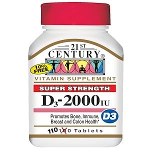 21st Century, Витамин D3, суперсила, 2000 МЕ, 110 таблеток