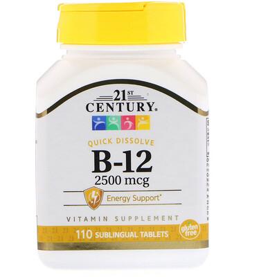 Купить 21st Century В12, 2500 мкг, 110 сублингвальных таблеток