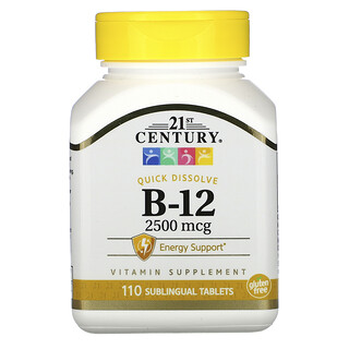 21st Century, VitaminaB12, 2500 mcg, 110comprimidos sublinguales