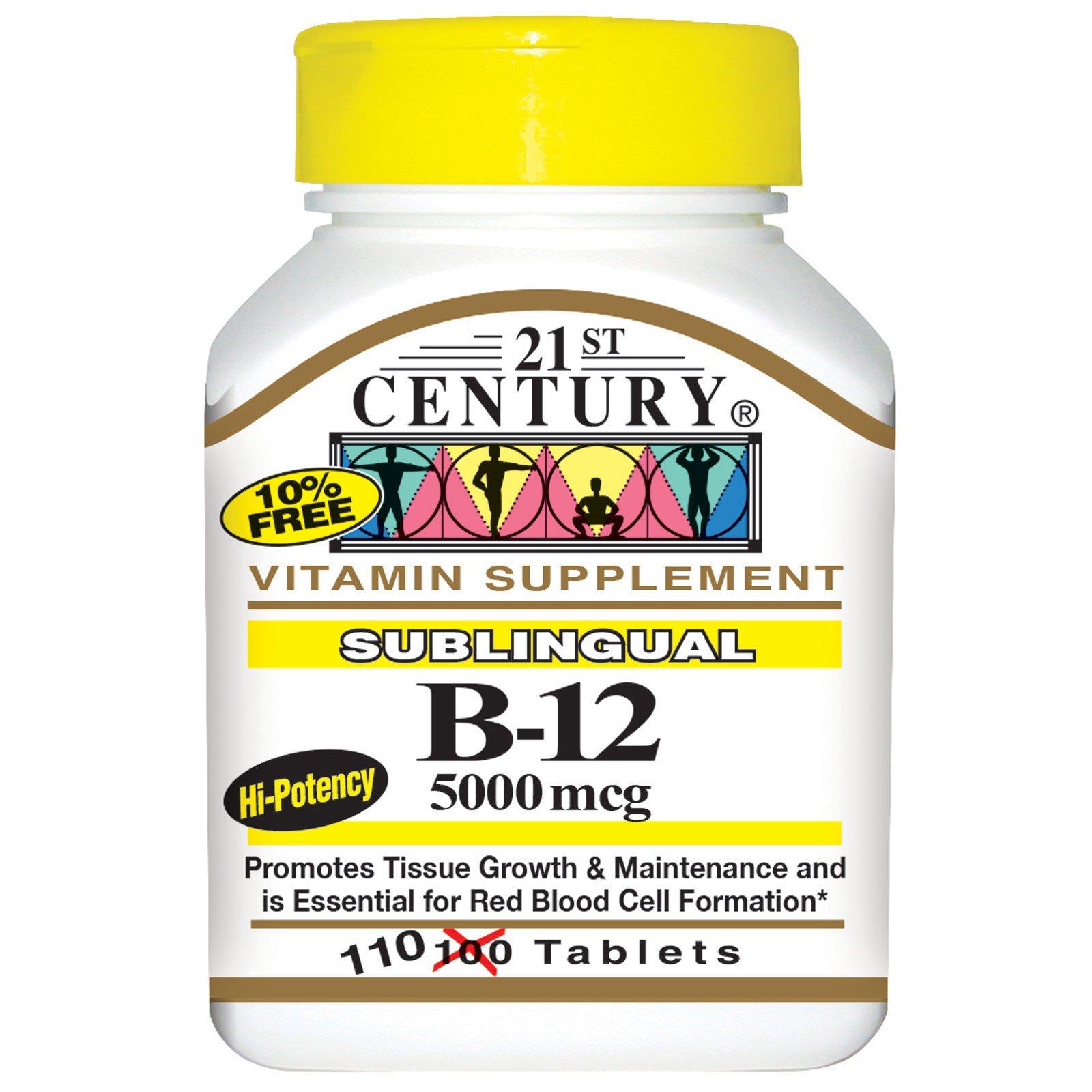 21st Century, Сублингвальный витамин B12, 5000 мкг, 110 таблеток