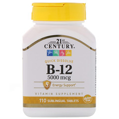 21st Century, B-12, 5000 mcg, 110 Sublingual Tablets