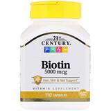 Отзывы о 21st Century, Биотин, суперсильное действие, 5000 мкг, 110 капсул