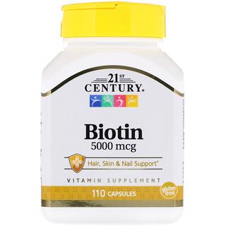 21st Century, Biotin, 5000 mcg, 110 Capsules