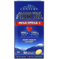 21st Century, Alaska Wild 魚油,Mega 歐米伽 3,1950 毫克/1350 毫克,90 粒腸溶包衣軟凝膠