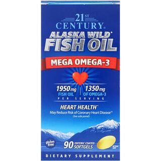 21st Century, Alaska Wild Fish Oil, Mega Omega-3, 90 Enteric Coated Softgels