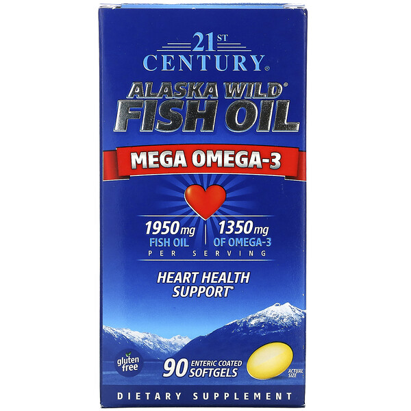 21st Century, Alaska Wild Fish Oil, Mega Omega 3, 1950 mg /1350 mg, 90 Enteric Coated Softgels