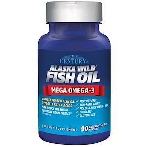 21st Century, Рыбий жир из дикой аляскинской рыбы, 90 желатиновых капсул с энтеросолюбильным покрытием купить на iHerb