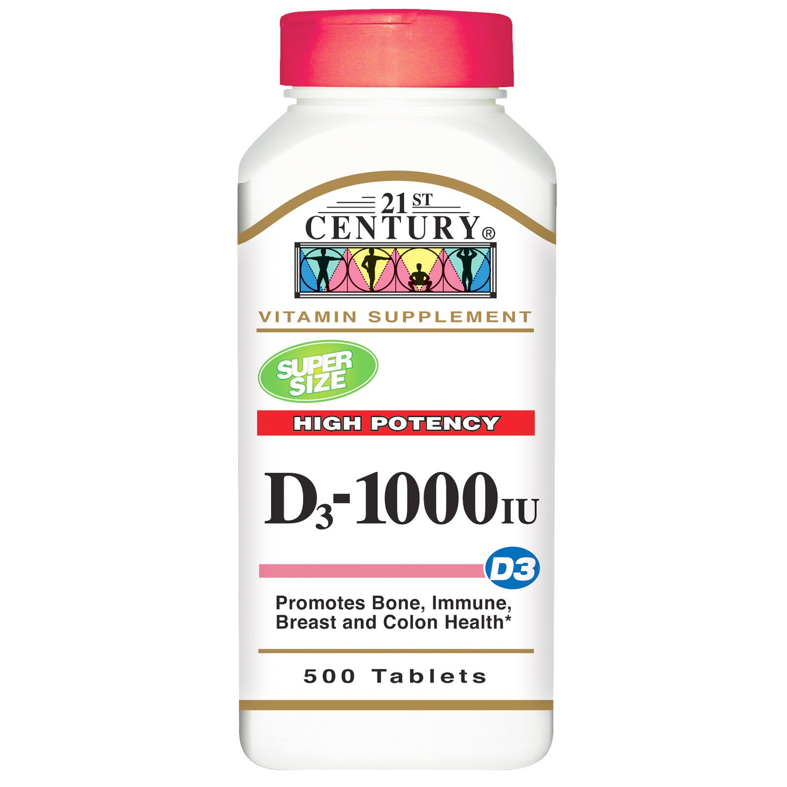 21st Century, Витамин D3 сильного действия, 1000 МЕ, 500 таблеток