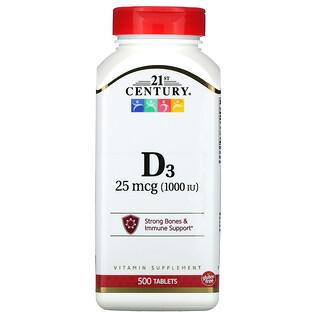 21st Century, فيتامين د3، 25 مكجم (1,000 وحدة دولية)، 500 قرص