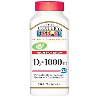 21st Century, Vitamin D3 High Potency, 1000 IU, 500 Tablets
