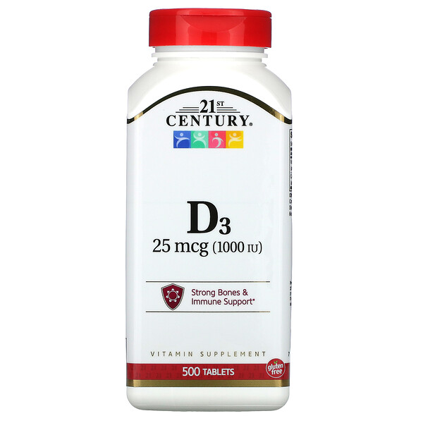 21st Century, витаминD3, 25мкг (1000МЕ), 500таблеток