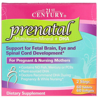 21st Century, Prenatal Multivitamin/Mineral + DHA, 2 Bottles, 60 Tablets / 60 Softgels
