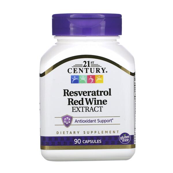 21st Century, مستخلص الكرمة النبيذية وريسفيراترول، 90 كبسولة
