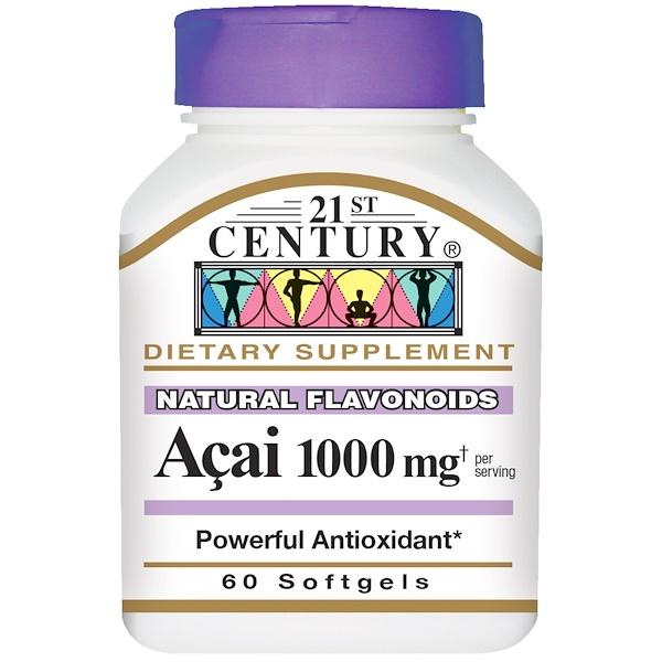 21st Century, Асаи, 1000 мг, 60 желатиновых капсул (Discontinued Item)