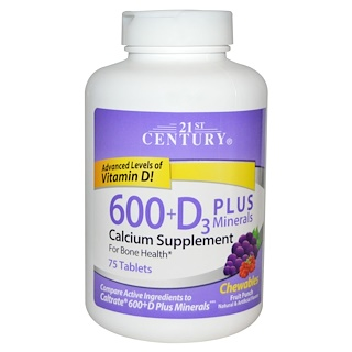 21st Century, 600+D3 Plus Minerals Chewables, Fruit Punch, 75 Tablets