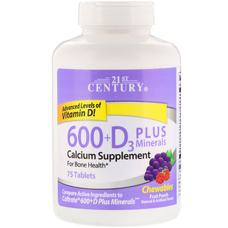21st Century, 600+D3 Plus Minerals Chewables, Fruit Punch, 75 Tablets
