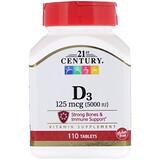 Отзывы о 21st Century, Vitamin D3, 5000 IU, 110 Tablets
