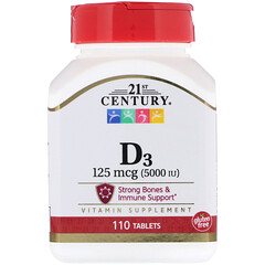 21st Century, Vitamin D3, 125 mcg (5000 IU), 110 Tablets