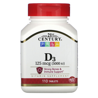 21st Century, فيتامين د 3، 125 مكجم (5000 وحدة دولية)، 110 قرص