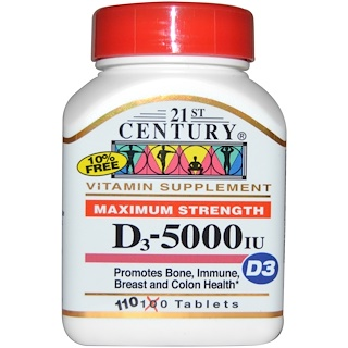 21st Century, Maximum Strength D3, 5000 IU, 110 Tablets