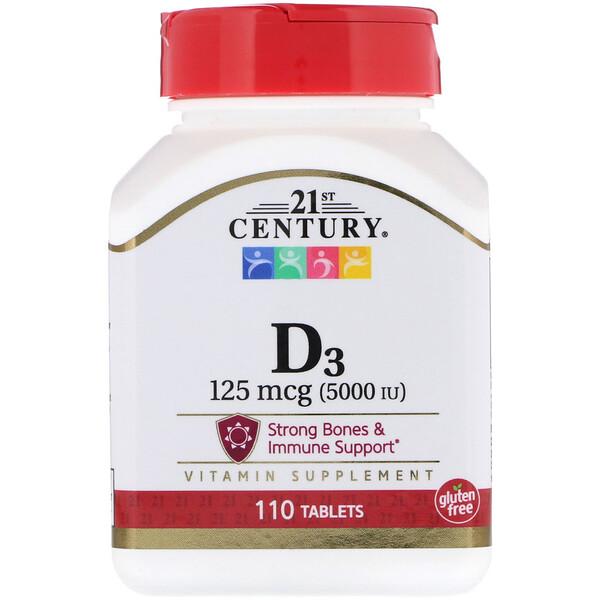 21st Century, Vitamin D3, 5000 IU, 110 Tablets