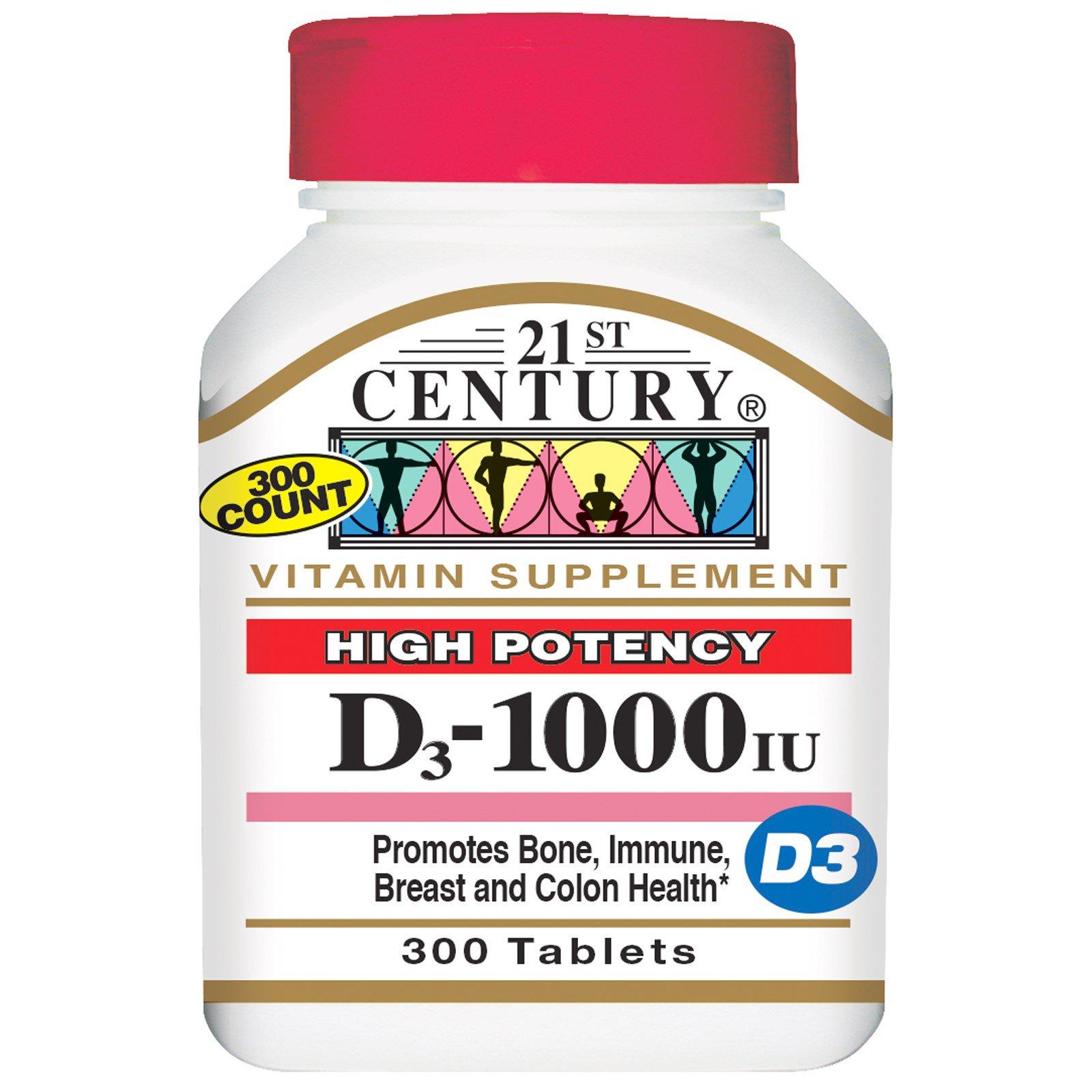 21st Century, Витамин D3, 1000 МЕ, 300 таблеток