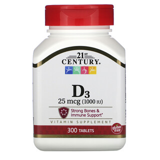 21st Century, فيتامين د3، 25 مكجم (1,000 وحدة دولية)، 300 قرص