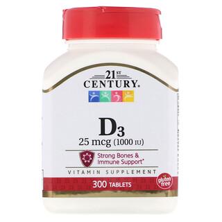 21st Century, Vitamina D3, 1000 IU, 300 Cápsulas