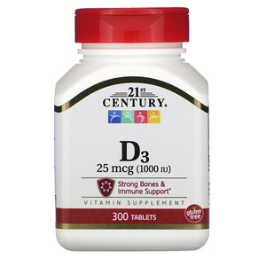 21 Сенчури, Vitamin D3, 25 mcg (1,000 IU), 300 Tablets отзывы