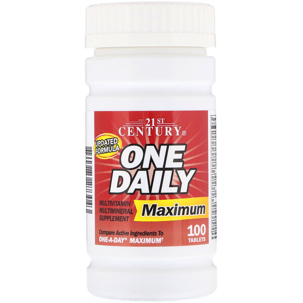 21st Century, One Daily, Máximo, Multivitamina Multimineral, 100 tabletas