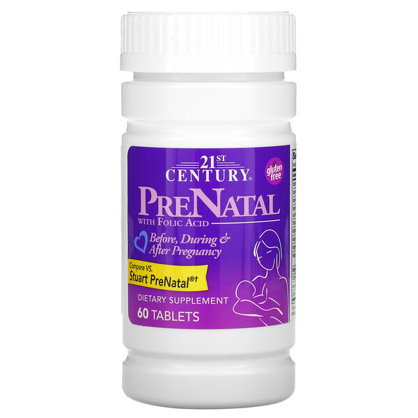 21st Century, PreNatal with Folic Acid, 60 Tablets