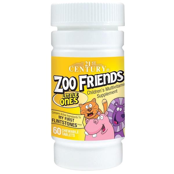 21st Century, Zoo Friends, маленькие, мультивитаминная добавка для детей, 60 жевательных таблеток (Discontinued Item)