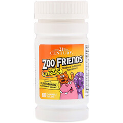 21st Century, Zoo Friends with Extra C, 60 Chewable Tablets