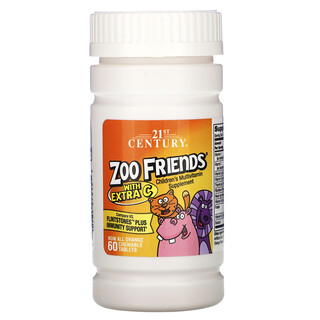 21st Century, مكمل غذائي Zoo Friends غني بفيتامين (جـ)، بنكهة البرتقال، 60 قرصًا قابلًا للمضغ