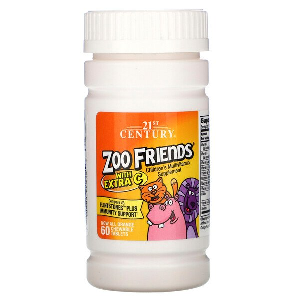 21st Century, Zoo Friends with Extra C, Orange, 60 Chewable Tablets