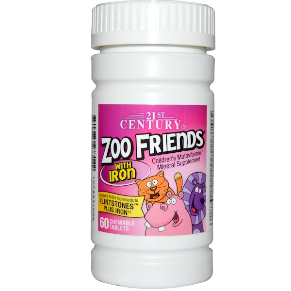 21st Century, Zoo Friends with Iron, Children's Multivitamin/ Mineral Supplement, 60 Chewable Tablets (Discontinued Item)