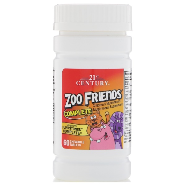 21st Century, 動物園朋友完整維生素礦物質,60 粒咀嚼片