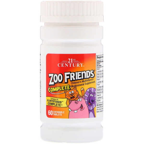 21st Century, Zoo Friends Complete, Children's Multivitamin / Multimineral Supplement, 60 Chewable Tablets (Discontinued Item)