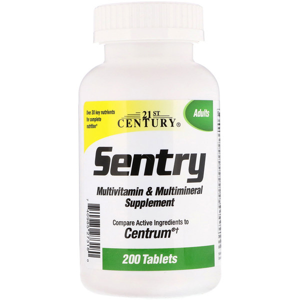 21st Century, Sentry, Suplemento de Multivitaminas y Multiminerales, 200 Tabletas (Discontinued Item)