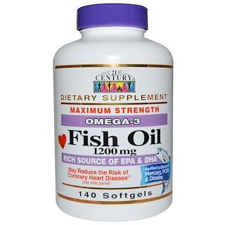 21st Century, Fish Oil, Omega-3, Maximum Strength, 1200 mg, 140 Softgels