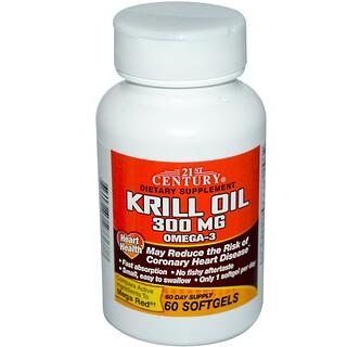 21st Century, 醫療保健磷蝦油,300毫克,60粒裝