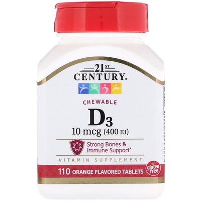 Vitamin D3, Chewable, Orange Flavored, 400 IU, 110 Tablets