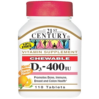 21st Century, Vitamin D3, Chewable, Orange Flavor, 400 IU, 110 Tablets