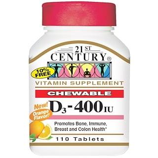 21st Century, Витамин D3, жевательные пастилки, с ароматом апельсина, 400 МЕ, 110 таблеток
