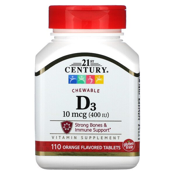 Vitamin D3, Chewable, Orange, 100 mcg (400 IU), 110 Tablets