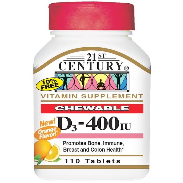 21st Century, Vitamin D3, Chewable, Orange Flavor, 400 IU, 110 Tablets