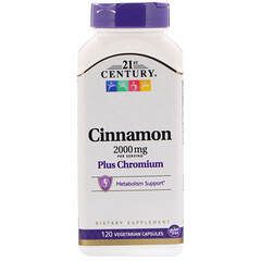 21st Century, Cinnamon Plus Chromium, 2000 mg, 120 Vegetarian Capsules