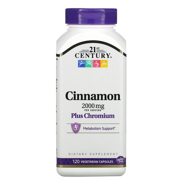 21st Century, Cinnamon Plus Chromium, 2,000 mg, 120 Vegetarian Capsules