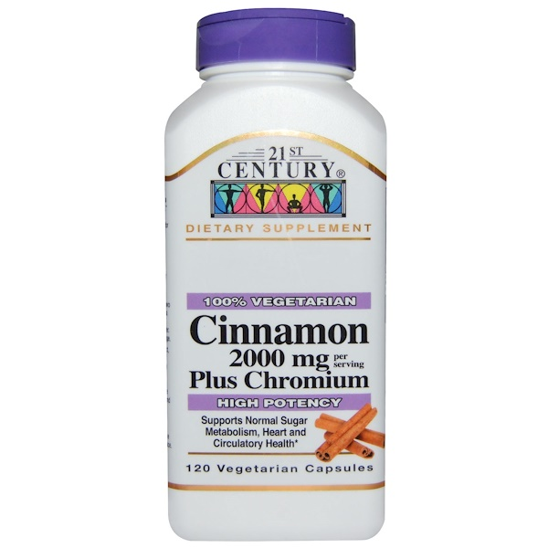 21st Century, Cinnamon Plus Chromium, 2000 mg, 120 Veggie Caps